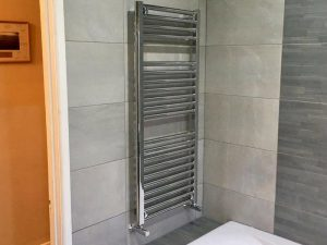 Towel rail on the wall of a luxury bathroom