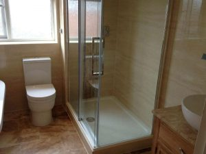 New shower and toilet in modern bathroom