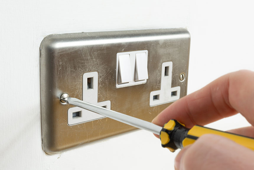 Socket being changed as part of a home rewire